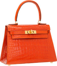 Hermes 20cm Shiny Orange H Alligator Mini Kelly Bag with Gold Hardware