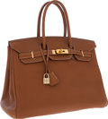 Luxury Accessories:Bags, Hermes 35cm Gold Togo Leather Birkin Bag with Gold Hardware. ...