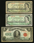 Canadian Currency: , DC-25g $1 1923. BC-29a $1 1954 Devil's Face. BC-45b-i $1 1954Centennial. ... (Total: 3 notes)