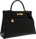 Luxury Accessories:Bags, Hermes 35cm Black Calf Box Leather Retourne Kelly Bag with Gold Hardware. ...