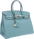 Luxury Accessories:Bags, Hermes 35cm Blue Ciel Clemence Leather Birkin Bag with PalladiumHardware. ...