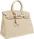 Luxury Accessories:Bags, Hermes 35cm Parchment Swift Leather Birkin Bag with PalladiumHardware. ...