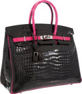 Luxury Accessories:Bags, Hermes Limited Edition 35cm Shiny Black & Rose Shocking Porosus Crocodile Birkin Bag with Palladium Hardware. ...