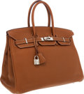 Luxury Accessories:Bags, Hermes 35cm Gold Clemence Leather Birkin Bag with PalladiumHardware. ...