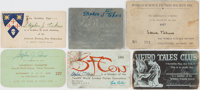 [Science Fiction] Lot of Six Science Fiction Convention/Membership Cards, Circa 1949-1957. Assorted lot of membership