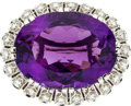 Estate Jewelry:Brooches - Pins, Art Deco Amethyst, Diamond, Platinum Brooch. ...