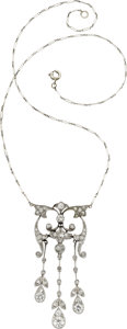 Estate Jewelry:Necklaces, Edwardian Diamond, Platinum Necklace, Swedish. ...