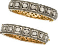 Estate Jewelry:Bracelets, Diamond, Silver-Topped Gold Bracelets. ... (Total: 2 Items)