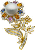 Estate Jewelry:Brooches - Pins, South Sea Cultured Pearl, Diamond, Sapphire, Gold Brooch. ...