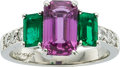 Estate Jewelry:Rings, Sapphire, Emerald, Diamond, Platinum Ring. ...