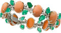 Estate Jewelry:Bracelets, Coral, Emerald, Diamond, White Gold Bracelet. ...