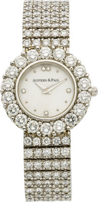 Austern & Paul Lady's Diamond, Mother-of-Pearl, Platinum Wristwatch