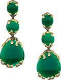 Estate Jewelry:Earrings, Chalcedony, Diamond, Gold Earrings. ...