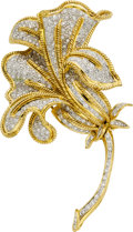 Estate Jewelry:Brooches - Pins, Diamond, Gold Clip-Brooch. ...