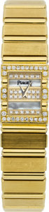 Estate Jewelry:Watches, Piaget Lady's Diamond, Mother-of-Pearl, Gold Polo Wristwatch. ...
