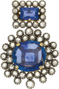 Estate Jewelry:Brooches - Pins, Sapphire, Diamond, Silver-Topped Gold Pendant-Brooch. ...