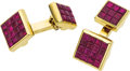 Estate Jewelry:Cufflinks, Ruby, Diamond, Gold Cuff Links, Aletto Brothers. ...