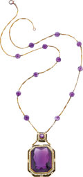 Estate Jewelry:Necklaces, Art Deco Amethyst, Seed Pearl, Enamel, Gold Necklace. ...