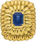 Estate Jewelry:Brooches - Pins, Sapphire, Gold Pendant-Brooch. ...