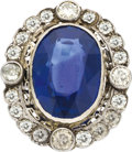 Estate Jewelry:Rings, Antique Sapphire, Diamond, Platinum Ring. ...