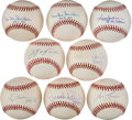 Baseball Collectibles:Balls, Baseball Greats Single Signed Baseballs Lot of 8....