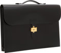Luxury Accessories:Bags, Hermes Black Calf Box Leather Sac a Depeches Double GussetBriefcase Bag with Gold Hardware. ...