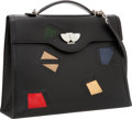 Luxury Accessories:Bags, Hermes Multicolor Lizard & Black Ardennes Leather Kelly NuagesBag with Palladium Hardware. ...