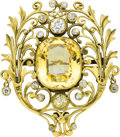 Estate Jewelry:Brooches - Pins, Sapphire, Diamond, Gold Brooch, F.G. Hale, early 20th century. ...