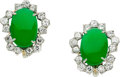 Estate Jewelry:Earrings, Jadeite Jade, Diamond, Platinum Earrings, Seaman Schepps. ...