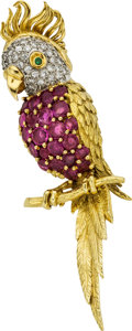 Estate Jewelry:Brooches - Pins, Diamond, Ruby, Emerald, Gold Pendant. ...