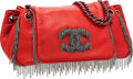 Luxury Accessories:Bags, Chanel Red Lambskin Leather Accordion Flap Bag with MultichainDetails. ...