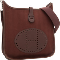 Hermes Chocolate Swift Leather & Chocolate Toile Evelyne I Crossbody Bag