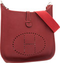Luxury Accessories:Bags, Hermes Rouge H Togo Leather Evelyne I Bag. ...