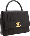 Luxury Accessories:Bags, Chanel Black Caviar Leather Top Handle Bag with Gold Hardware. ...
