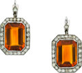 Estate Jewelry:Earrings, Art Deco Madeira Citrine, Diamond, Platinum Earrings. ...