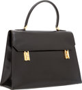 Luxury Accessories:Bags, Hermes 32cm Black Calf Box Leather Drag Kelly Bag with Gold Hardware. ...