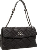 Luxury Accessories:Bags, Chanel Black Lambskin Leather Large Flap Shoulder Bag with SilverHardware. ...
