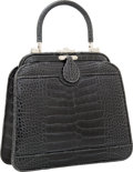 Luxury Accessories:Bags, Judith Leiber Shiny Slate Gray Crocodile Medium Top Handle Tote Bagwith Shoulder Strap. ...