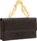 Luxury Accessories:Bags, Darby Scott Shiny Brown Crocodile Flap Bag with Jewel Strap. ...