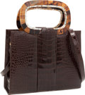 Luxury Accessories:Bags, Darby Scott Brown Crocodile Bag with Tortoise & Mother of PearlDetail. ...