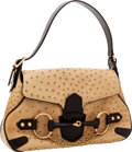 Luxury Accessories:Bags, Gucci by Tom Ford Bone Ostrich with Brown Trim Horsebit Hobo Bag....