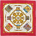 "Luxury Accessories:Accessories, Hermes Red, White & Gold ""Les Tambours,"" by Joachim Metz SilkScarf. ..."