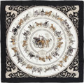"Luxury Accessories:Accessories, Hermes Black & White ""La Promenade de Longchamps,"" by PhilippeLedoux Silk Scarf. ..."