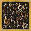 "Luxury Accessories:Accessories, Hermes Black & Gold ""Raconte-Moi le Cheval,"" by DimitriRybaltchenko Silk Scarf. ..."