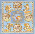 "Luxury Accessories:Accessories, Hermes Light Blue & Cream Multicolor ""Le Triomphe du Paladin,""by Julia Abadie Silk Scarf. ..."