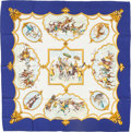 "Luxury Accessories:Accessories, Hermes Blue, White & Gold ""Les Chevaux des Moghols,"" by Jean deFougerolle Silk Scarf. ..."