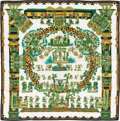 "Luxury Accessories:Accessories, Hermes Green, Black & Gold ""Astres et Soleil,"" by Annie FaivreSilk Scarf. ..."