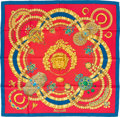 "Luxury Accessories:Accessories, Hermes Red, Blue & Gold ""Kosmima,"" by Julia Abadie Silk Scarf. ..."