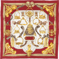 "Luxury Accessories:Accessories, Hermes Burgundy, White & Gold ""Etriers,"" by Francoise de laPerriere Silk Scarf. ..."