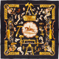 """Luxury Accessories:Accessories, Hermes Black & Gold """"Copeaux,"""" by Caty Latham Silk Scarf. ..."""